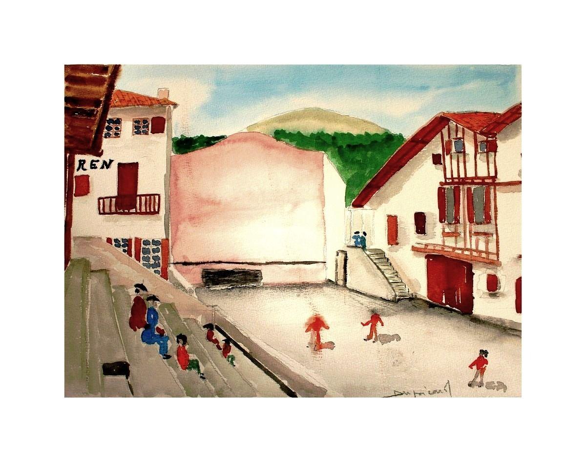 peinture aquarelle du fronton de biriatou au pays basque peintures par aquarelles dupicard. Black Bedroom Furniture Sets. Home Design Ideas