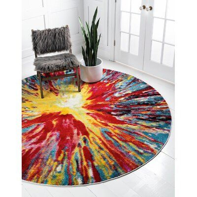 Ebern Designs Contemporary Arles Runner Rug Starburst Colour Rug Size Round 8 In 2020 Purple Area Rugs Rugs Round Rugs