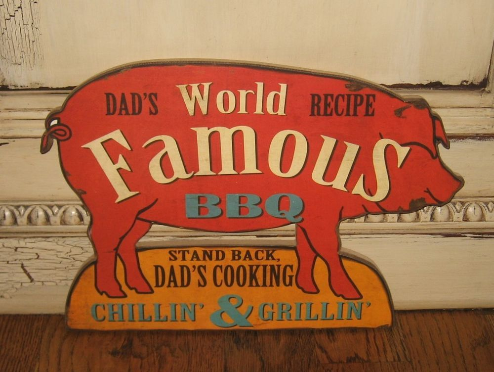 Dads bbq pig wall signprimitive country urban farmhouse