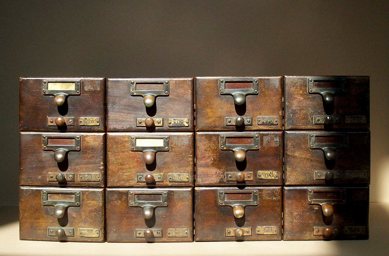 Vintage Library Card Catalogue Drawer With Label Hardware Wood