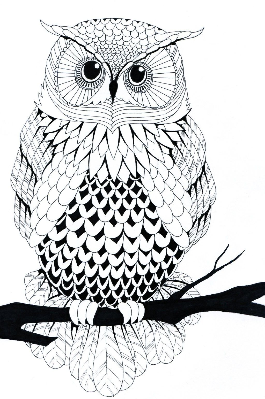40+ Simple Owl Stencil Tattoo Design | Owl coloring pages ...