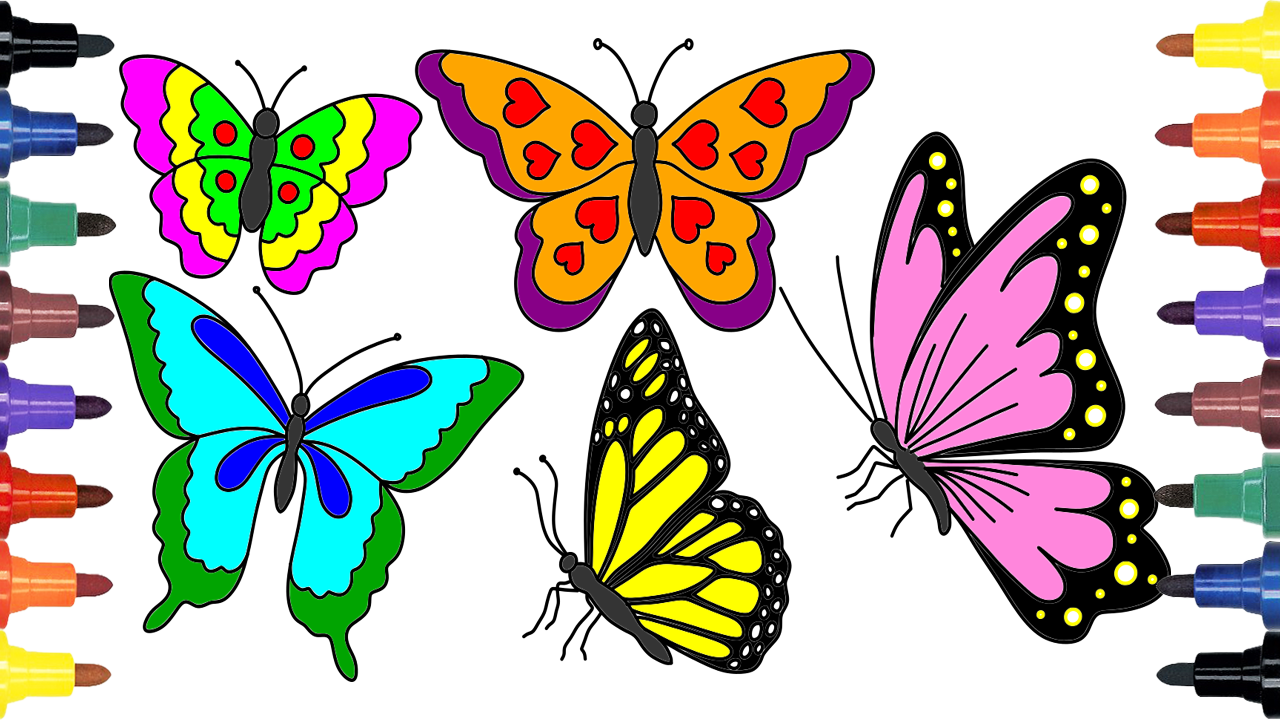 How To Draw Butterfly Coloring For Kids Learning Colors