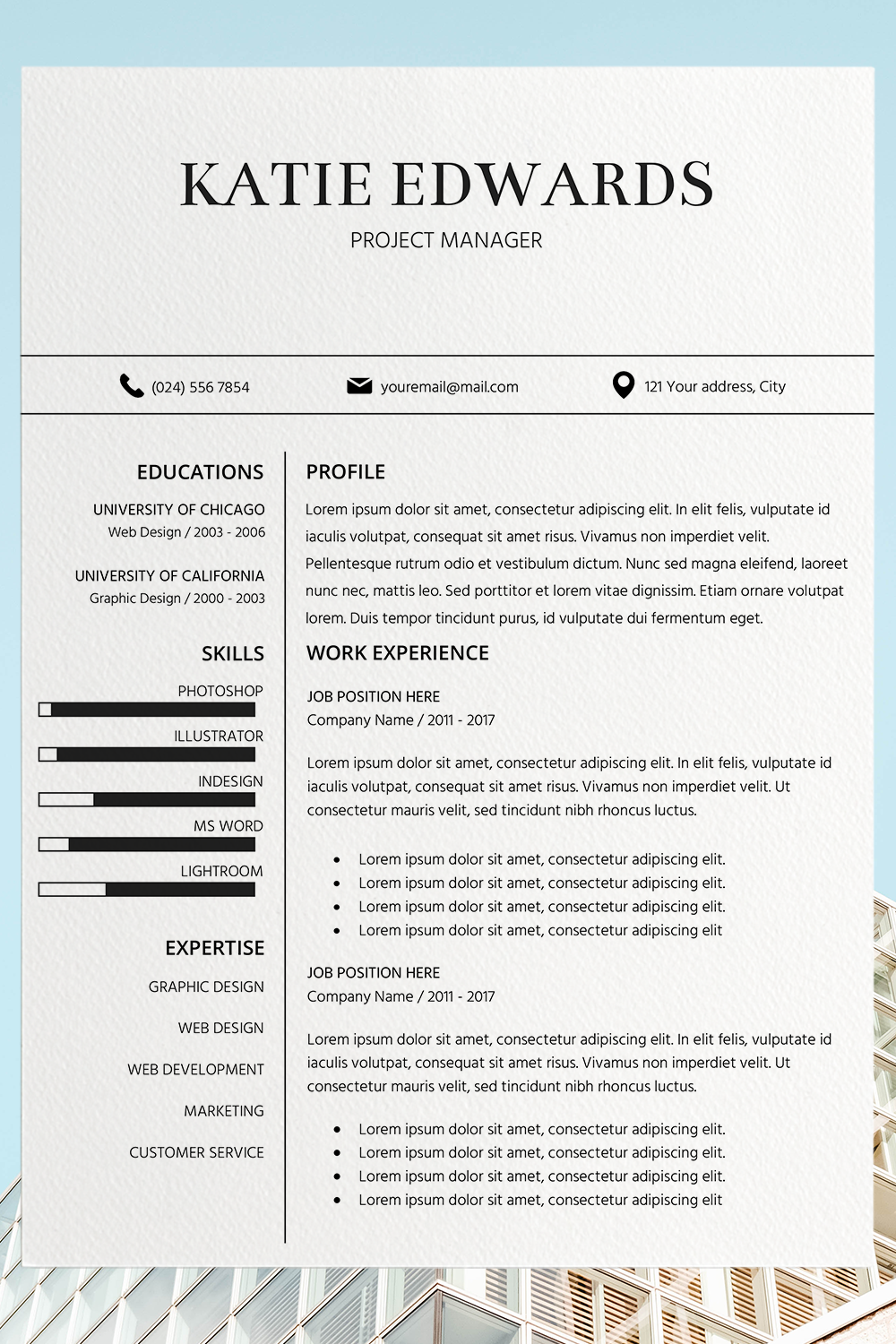 Easy Resume Template Simple CV Template Katie Edwards