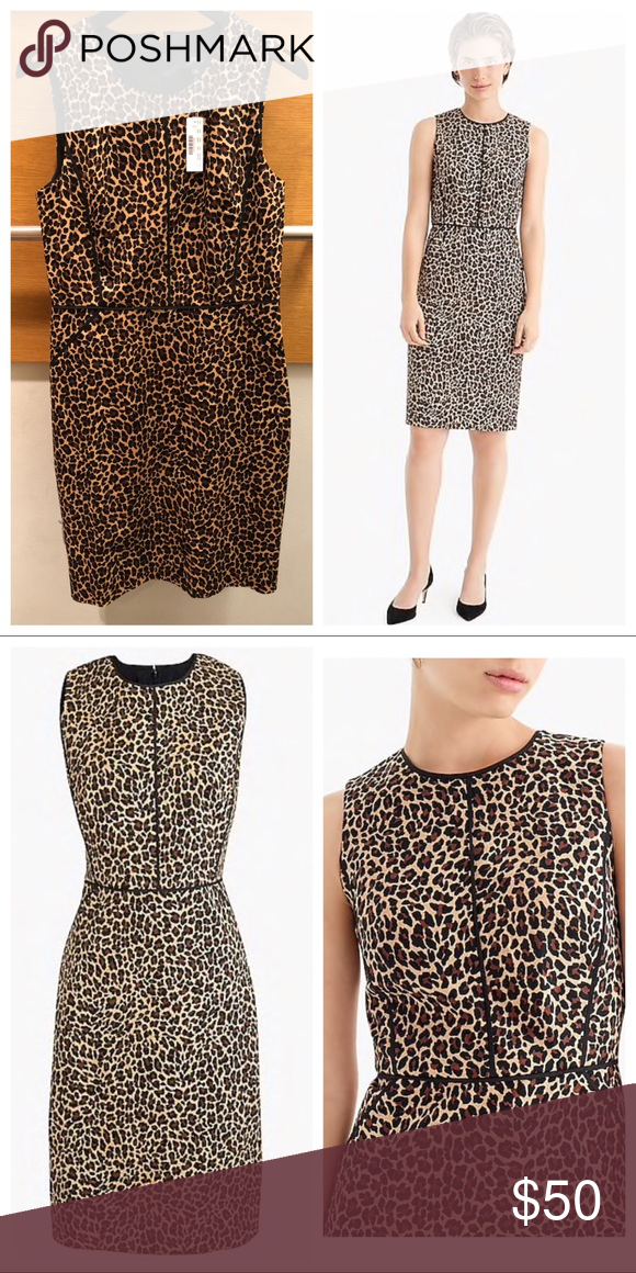 4e875536 J crew sheath dress in Leopard Print, Sz 6 recommend wearing this classic sheath  dress in a fun leopard print to any meeting or presentation.
