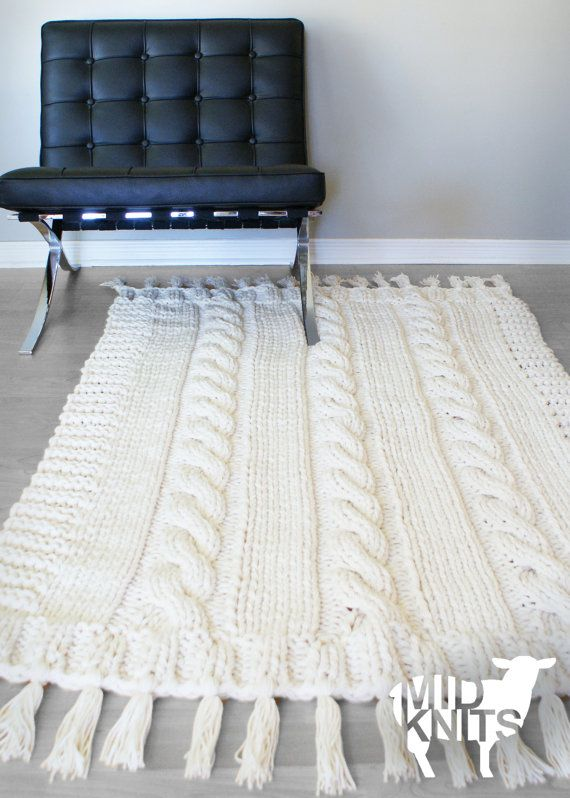 DIY Knitting PATTERN - Triple Cable Throw Blanket / Rug 49\
