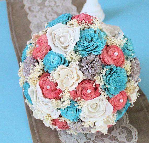 Wedding Bouquet- Coral Gray Turquoise Ivory Bridal