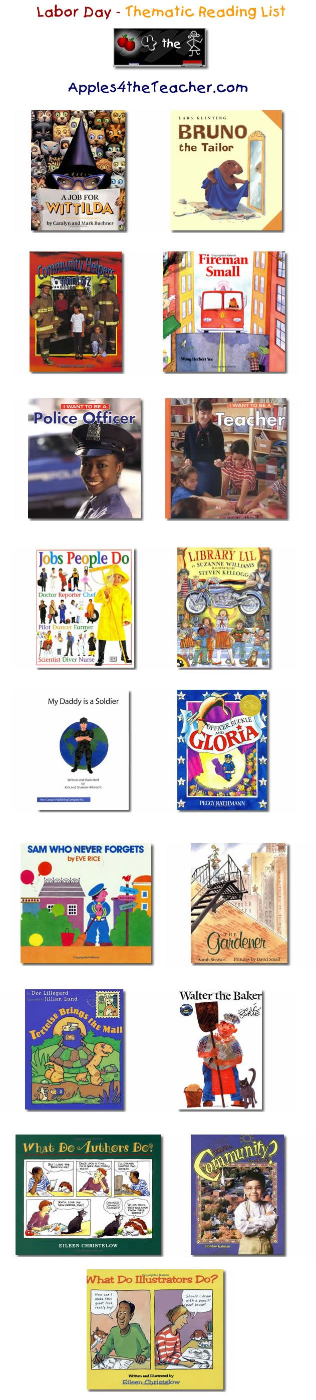 Suggested thematic reading list for Labor Day - Labor Day books for kids.    Kids learning activities [ 2795 x 631 Pixel ]