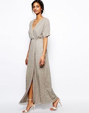 147091a47b Vestido largo con lentejuelas y diseño estilo kimono de