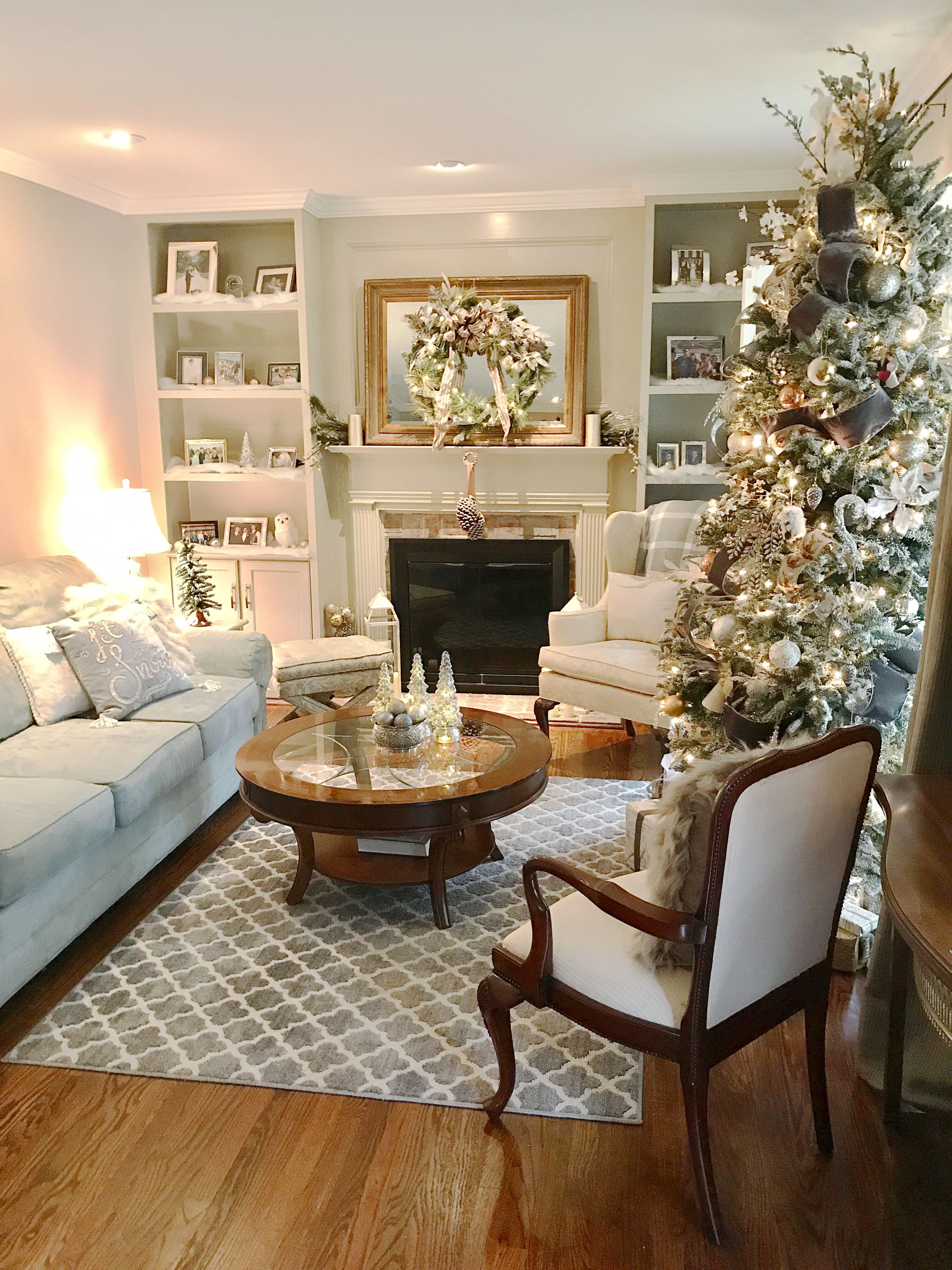 winter wonderland living room  grey gold silver and