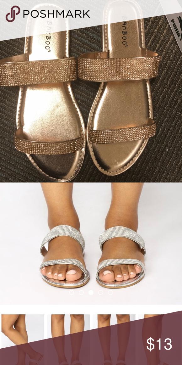 Fashion nova Miranda flat slides (rose gold) New BAMBOO