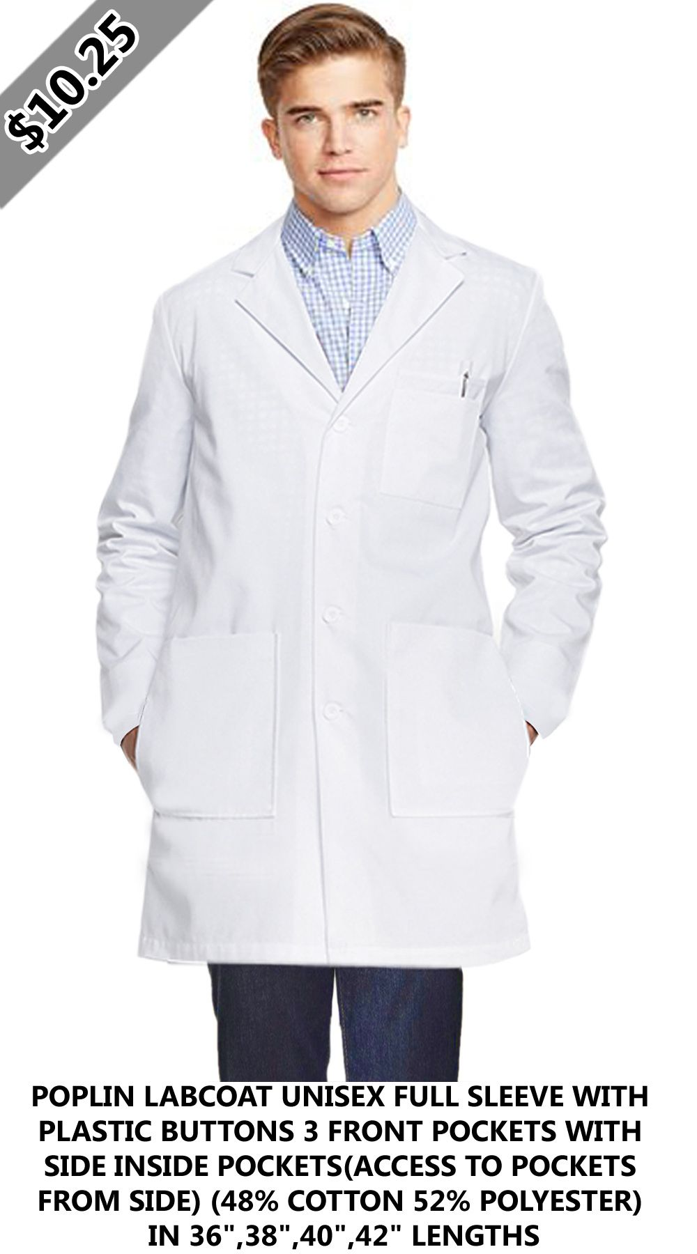 36640933a63 Poplin Labcoat Unisex full sleeve with plastic buttons | Labcoats ...