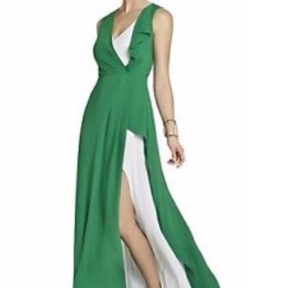 BCBG Maxazria Green and White Gown Small, new condition, floor length BCBGMaxAzria Dresses Prom
