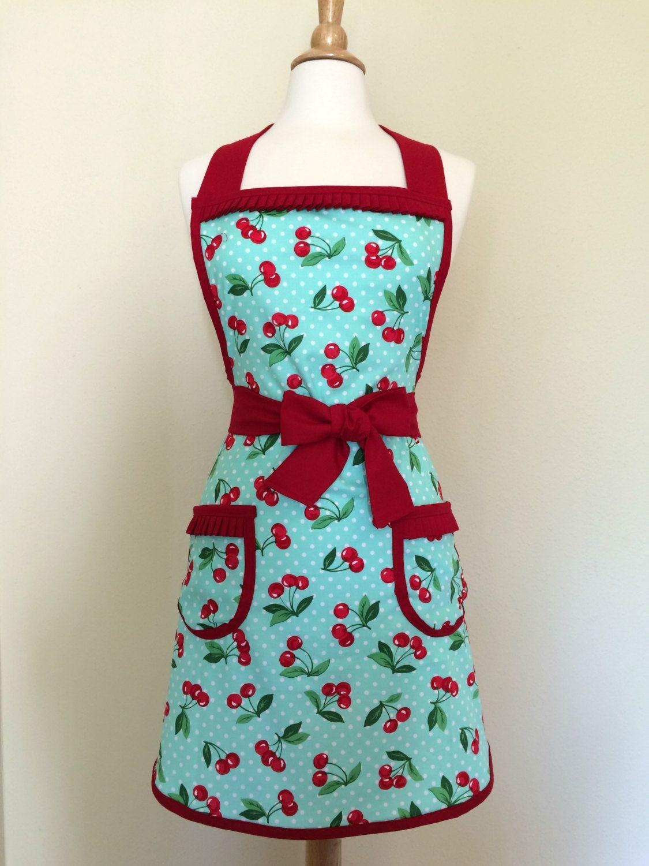 Retro apron/ Turquoise and red cherry print/ kitschy retro kitchen ...