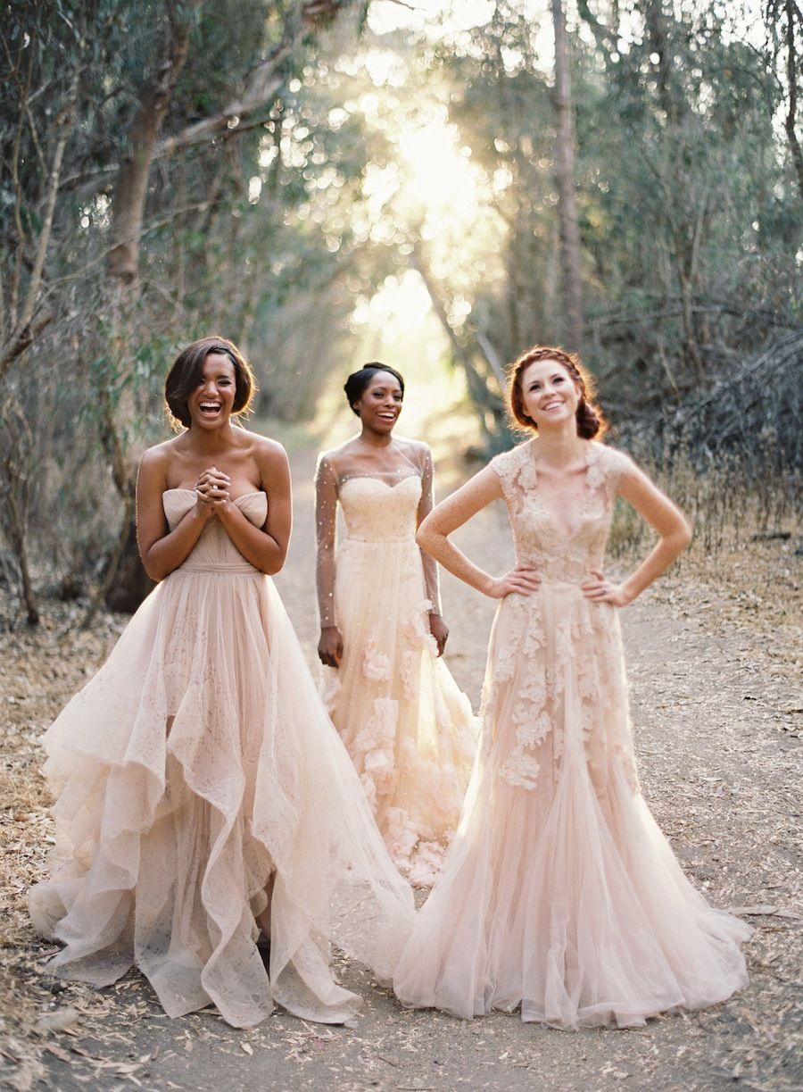 Rose colored wedding dress  Bridesmaids  Love the Dresses  Wedding Inspiration  Pinterest