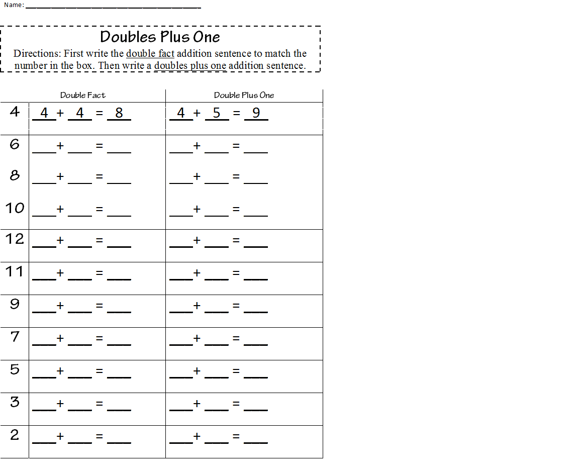 hight resolution of doubles plus one worksheet   Math worksheets