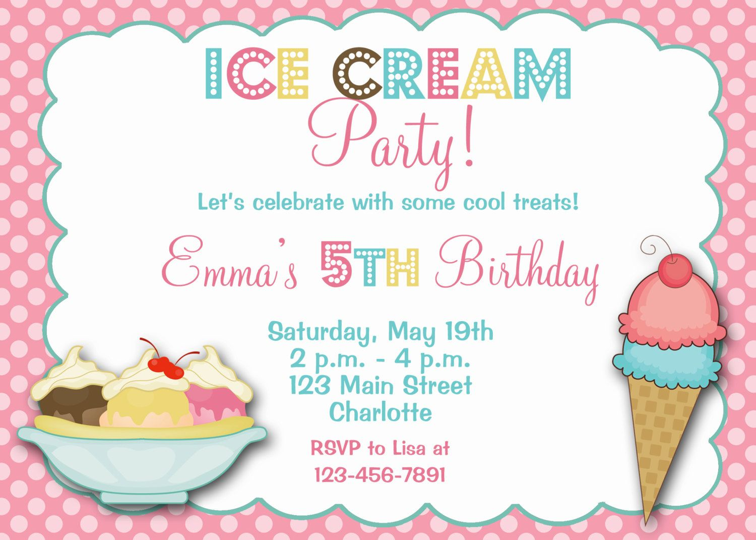 Ice cream party birthday Invitation Ice cream birthday