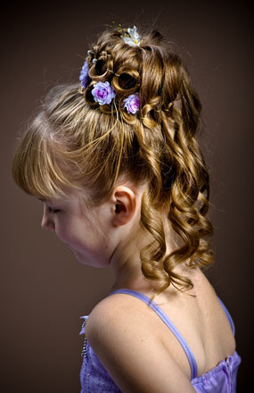 Flower Girl Hairstyles find this pin and more on little hair dos by ba5571 Elegant Flower Girl Hairstyle Updo With Purple Flowerspng