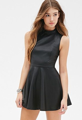 Faux Leather Skater Dress  53582ea60