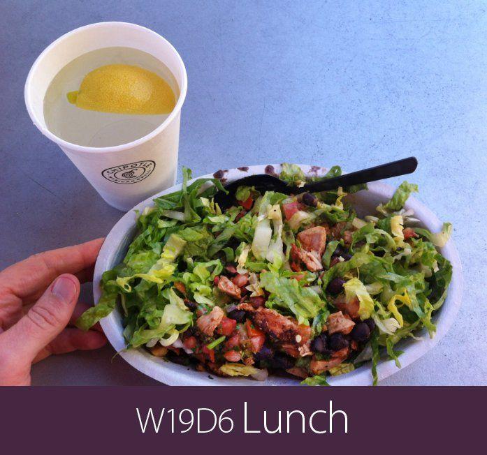 June 17th 2013 - W19D6 Lunch - Chipotle burrito bowl: black beans, chicken, mild salsa, medium salsa, guacamole, and lettuce.