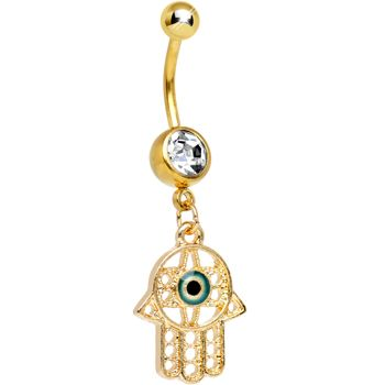 Stainless Steel Belly Button Ring Fatima Hand Dangle Piercing Jewelry Navel Ring