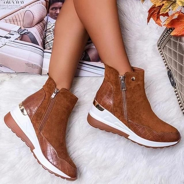 Women Comfortable Wedge Shoes – Brown / 39