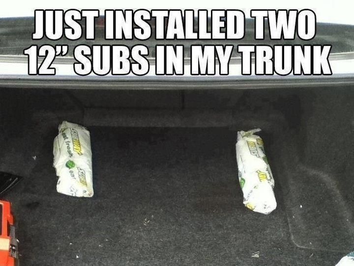 "Just installed 12"" subs in the trunk"