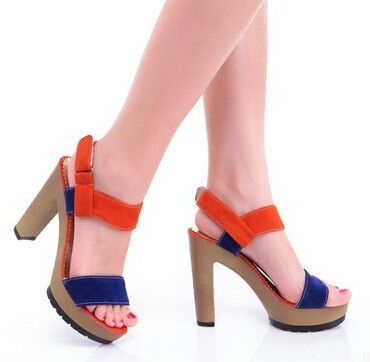 21b42ba00 Women new fashion spring Summer thick 10cm ultra high heels open toe sandals  color block gladiator buckle shoes