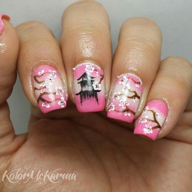 Japanese style (I call it cherry blossom with pagoda) nail design ...