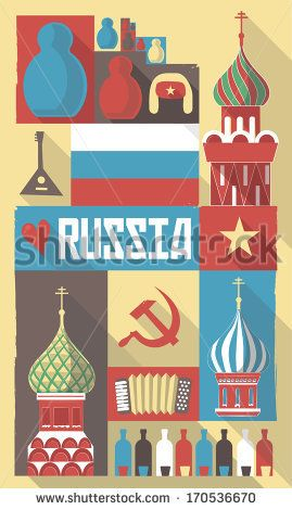Vector Illustration Of Famous Culture Symbols Of Russia On A