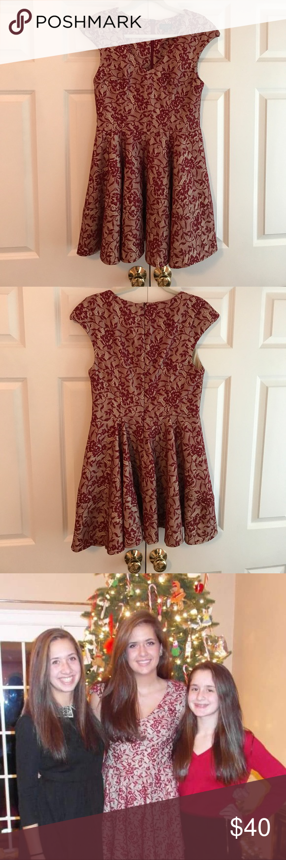 Worn Once Topshop Red Bonded Lace Skater Dress Semi Formal