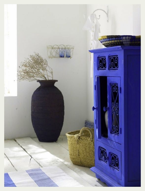 Cobalt · An Indian Summer: Catching. Painting Ugly Stained Furniture With  Bright, Bold Colors To
