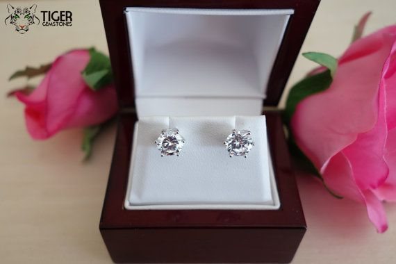 2 5 Carat 7mm Round Stud Earrings Flawless Man By Tigergemstones
