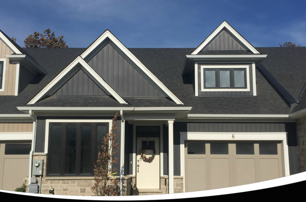 Kaycan Vinyl Siding Manor Board Batten With Grey Stone And White Trims