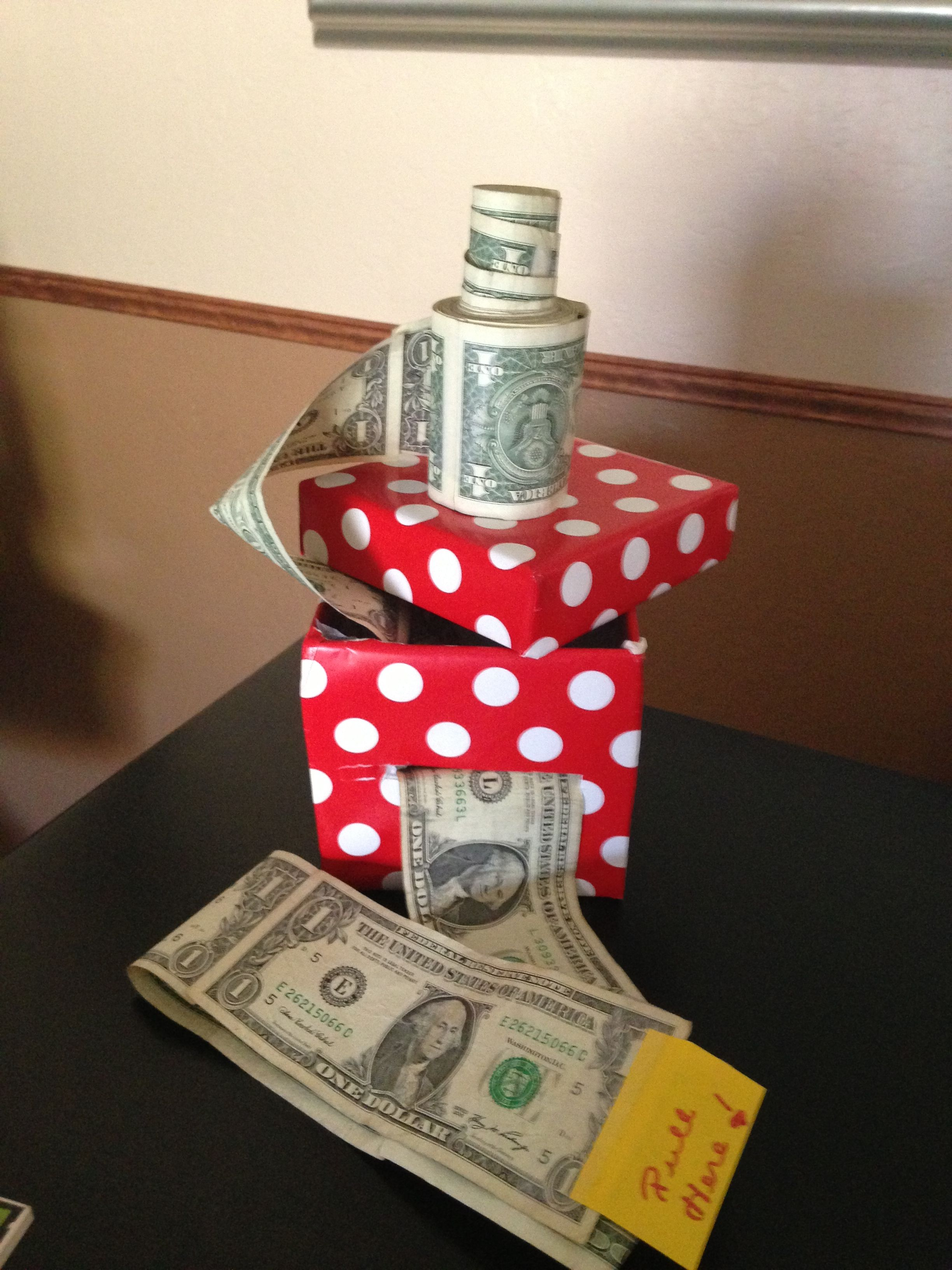 Creative way to give cash as a gift. Tape dollars together, then ...