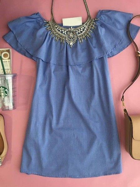 Vestido Raiane Ombro a Ombro Azul