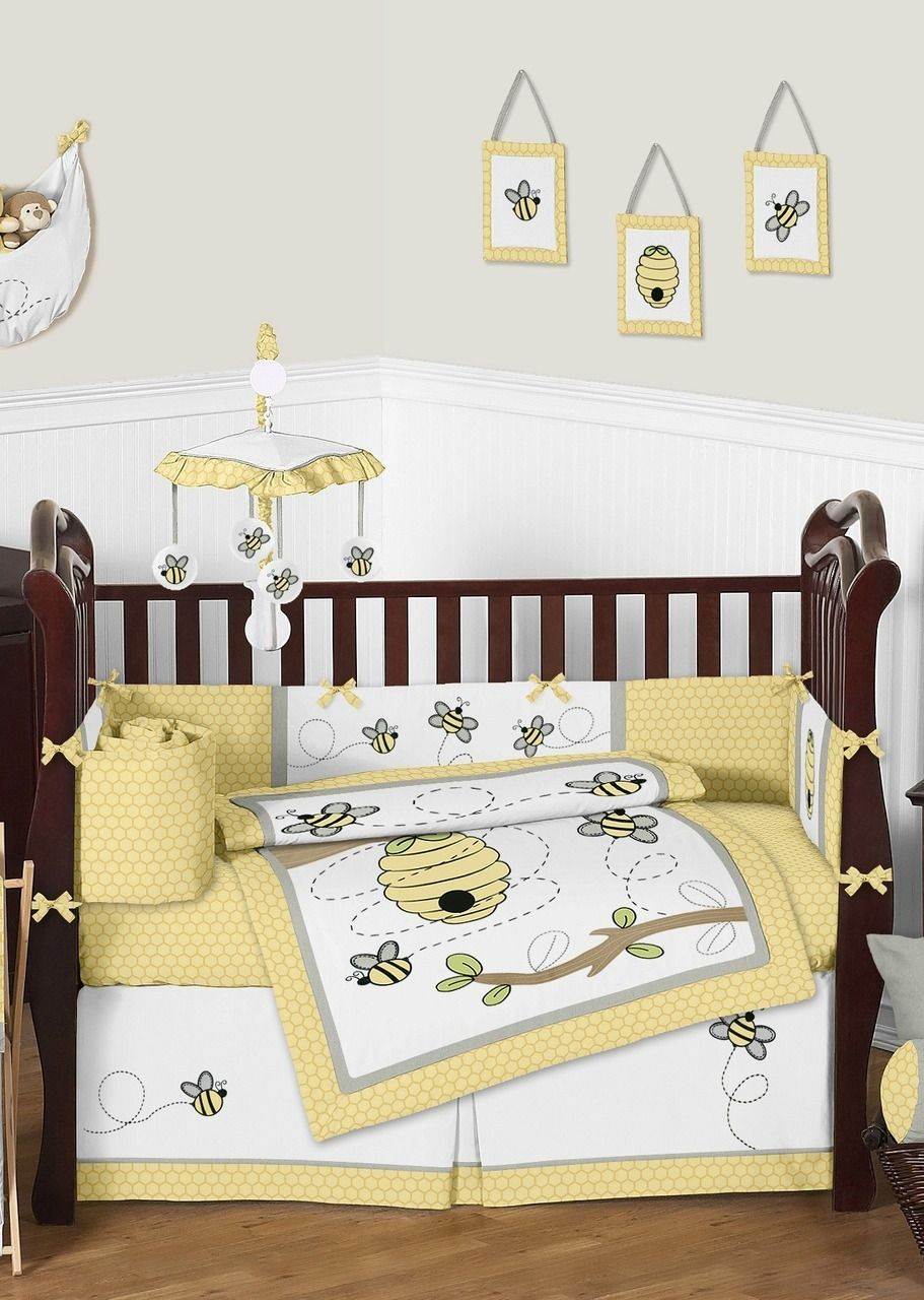 Yellow And Gray Honey Bee Baby Bedding 9 Piece Unisex Nursery