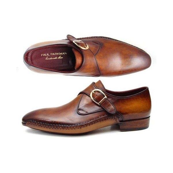 Paul Parkman Men's Single Monkstraps Brown Leather (ID#69V5E) ($570) ❤ liked on Polyvore featuring men's fashion