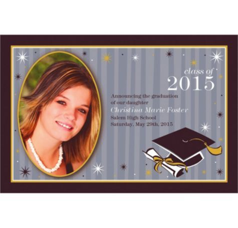 Grad Honors Custom Photo Announcement - Custom Graduation Announcements - Graduation Invitations - Graduation - Special Occasions - Party City