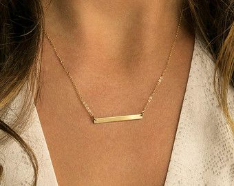 Gold Bar Necklace Personalized Name Bar Necklace by LayeredAndLong