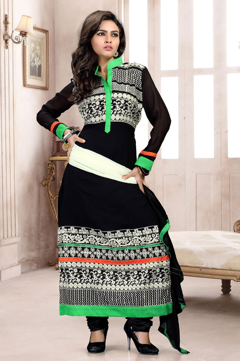 Black color straight party wear salwar suit at Easysarees.
