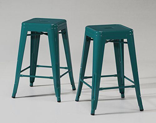 ModHaus Set of 2 Turquoise Tolix Style Metal Counter Stools in Glossy Powder Coated Finish ModHaus http://www.amazon.com/dp/B00QVN68M4/ref=cm_sw_r_pi_dp_p8rmvb152ZHWK