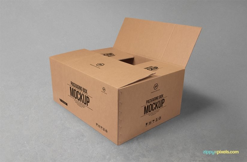 Download Free Cardboard Box Mockup Zippypixels