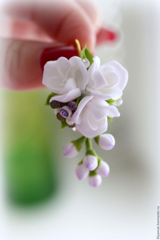 """Купить Серьги """"Белая фрезия"""" - белый, серьги с цветами, цветочное украшение, серьги ручной работы"""