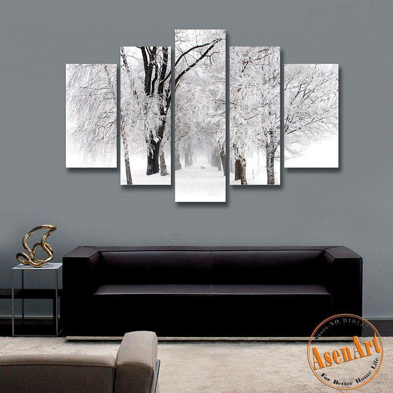 5 panel wall art winter snow paintings modern tree painting