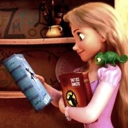 Yes! Rapunzel likes the Hunger Games trilogy too!