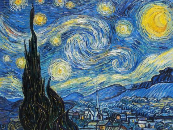 Starry Night Art Board Two Peinture Celebre Art