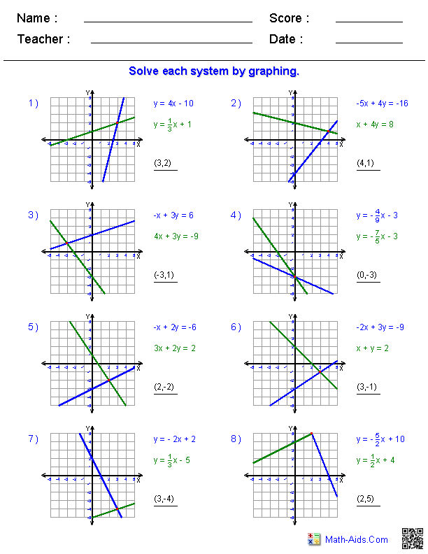 solving two variable systems of equations by graphing - Solving Systems By Graphing Worksheet