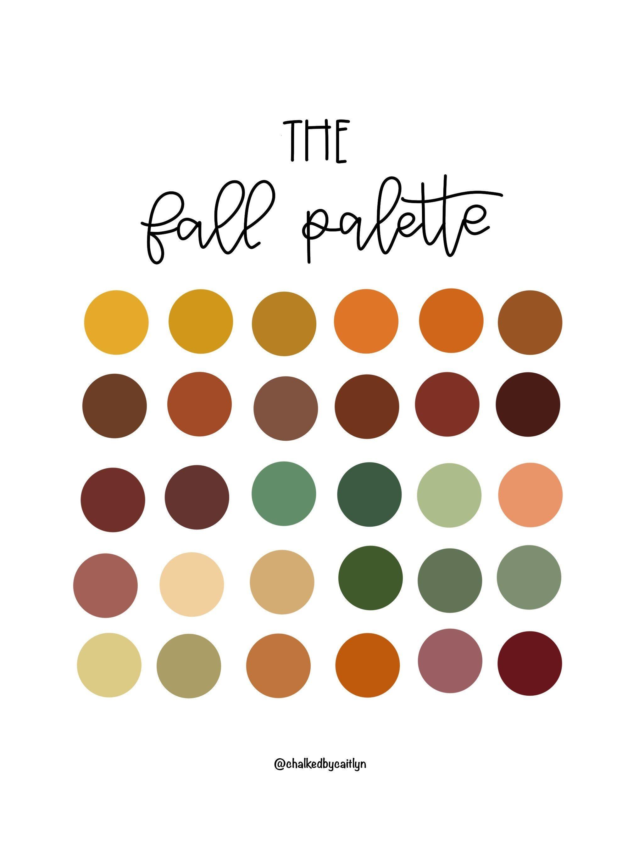 The Fall Color Palette Procreate Custom Color Palette Ipad Etsy Fall Color Palette Fall Palette Color Palette Design
