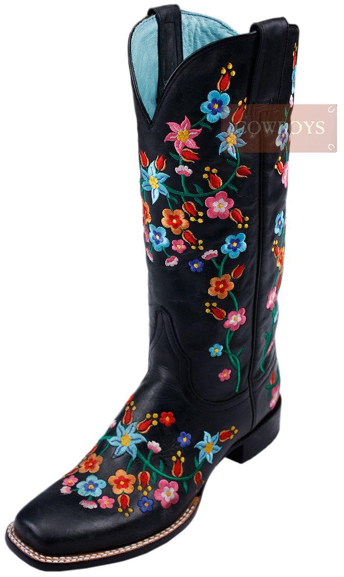 6d86f756e1 Bota Feminina Floral Stetson. Bota Feminina Importada, produzida em couro  na cor preta, com bordado de flores, solado em couro, salto emborrachado e  bico ...