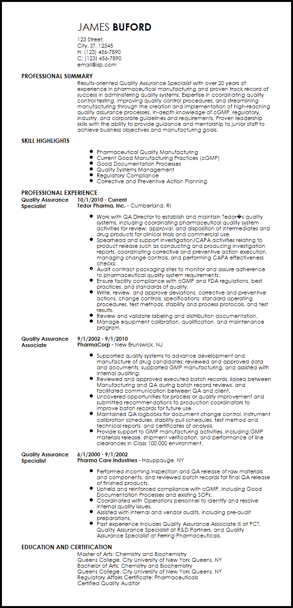 Quality Assurance Pharma 3 Resume Format Resume Template